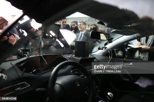 Inter Ministerial Delegate for Road Safety Emmanuel Barbe speaks during the presentation of the radar control car on February 24 2017 in Evreux...