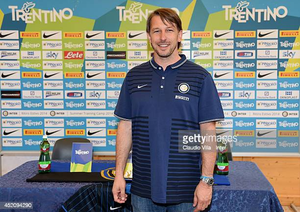 Inter 'Primavera' Coach Stefano Vecchi attends the FC Internazionale Milano training session on July 13 2014 in Pinzolo near Trento Italy