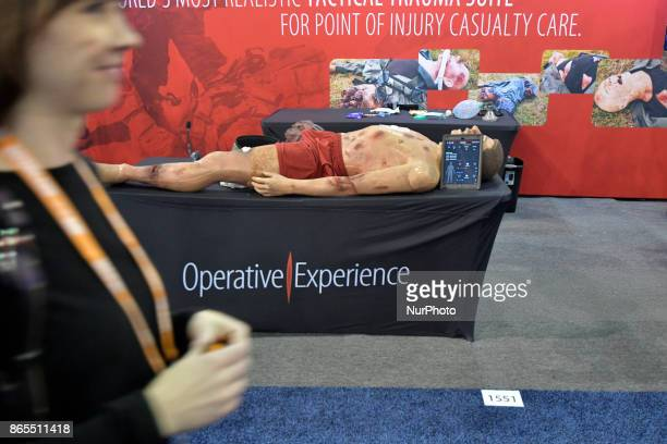 Interactive dummy for training purposes is displayed at a booth of the law enforcement expo part of the annual International Association of Chiefs of...
