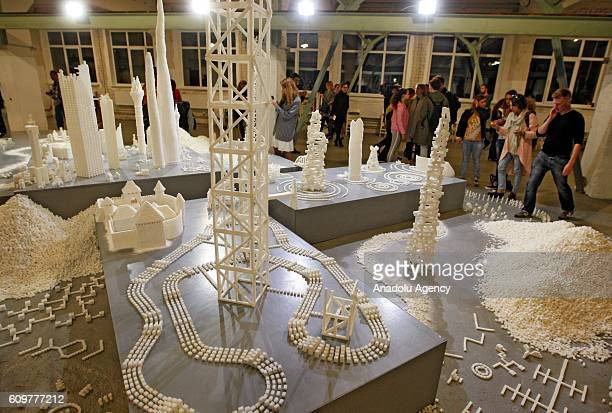 Interactive sculpture installations from sugar called 'Sugar democracy' built by Irish artists Brendan Jamison and Mark Revels are seen in Kiev...