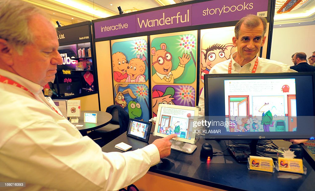 Interactive Wanderful story books are displayed on screen at the Las Vegas Convention Center on January 9, 2013 in Las Vegas, Nevada. CES, the world's largest annual consumer technology trade show, runs from January 8-11 and is expected to feature 3,100 exhibitors showing off their latest products and services to about 150,000 attendees.