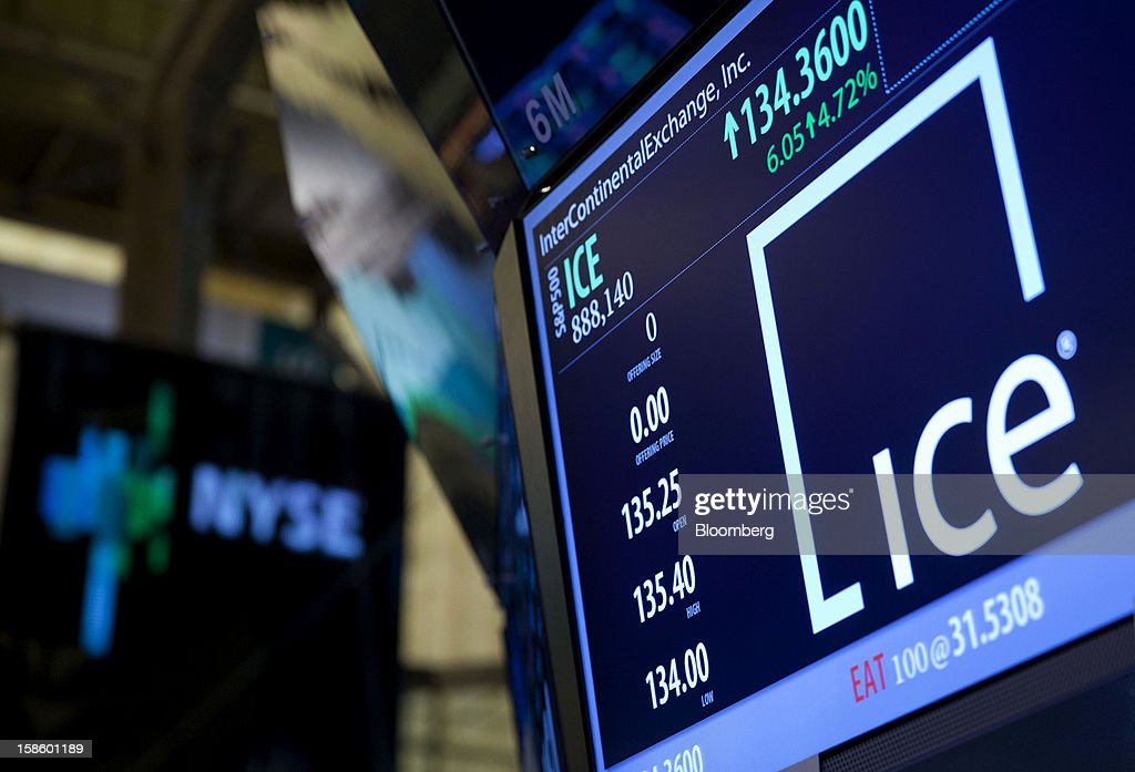 InterContinentalExchange Inc. (ICE) signage and stock information are displayed on an electronic monitor on the floor of the New York Stock Exchange (NYSE) in New York, U.S., on Thursday, Dec. 20, 2012. InterContinentalExchange Inc. (ICE), the 12-year-old energy and commodity futures bourse, agreed to acquire NYSE Euronext for cash and stock worth $8.2 billion, moving to take control of the world's biggest equities market. Photographer: Jin Lee/Bloomberg via Getty Images