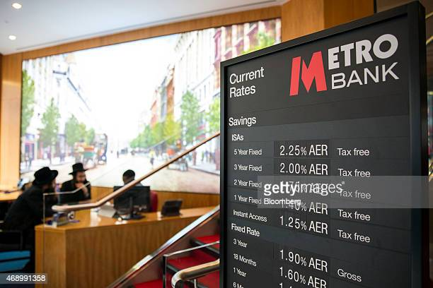 Interest rates for ISAs and FixedRate savings accounts are displayed on a board inside a Metro Bank branch operated by Metro Bank Plc on Southampton...