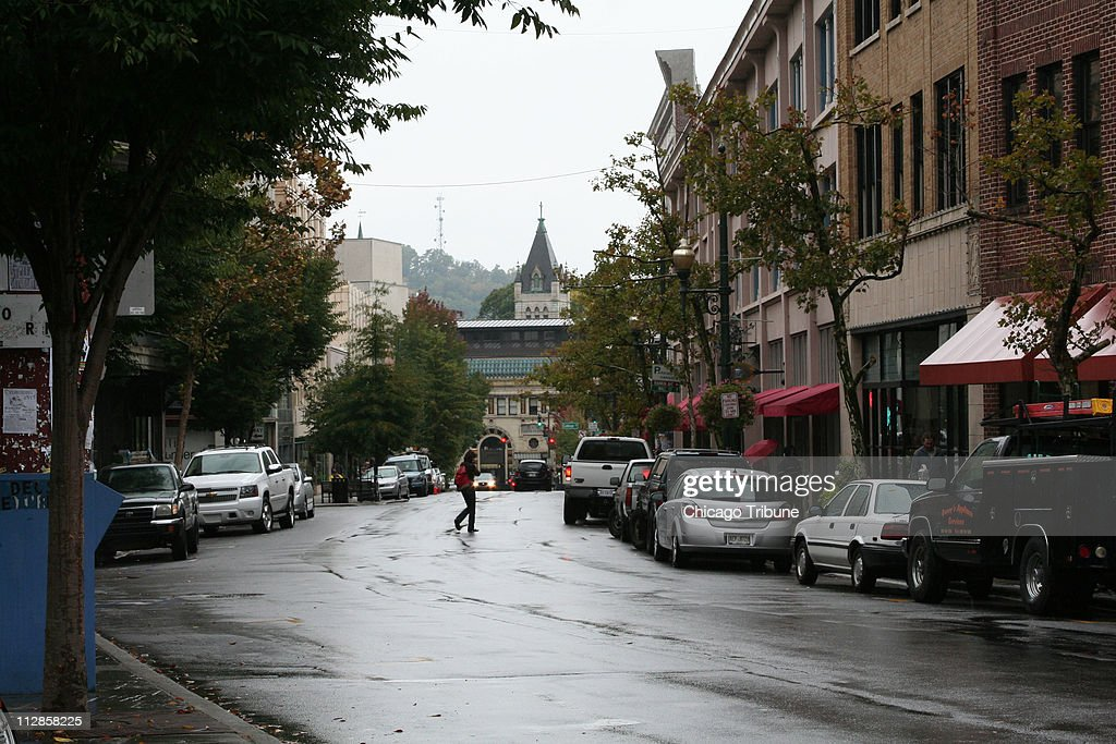 Interesting shops and restaurants line the clean quiet streets of Asheville North Carollina