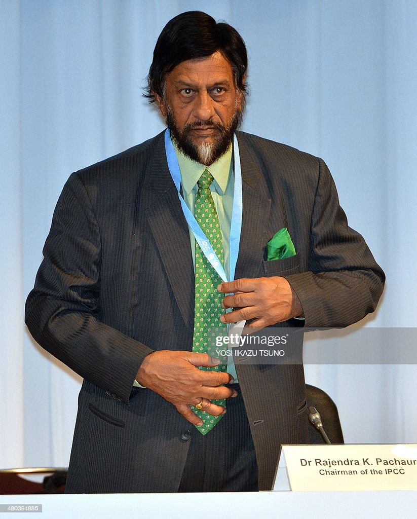 Intergovernmental Panel on Climate Change (IPCC) chairman <a gi-track='captionPersonalityLinkClicked' href=/galleries/search?phrase=Rajendra+Pachauri&family=editorial&specificpeople=4128691 ng-click='$event.stopPropagation()'>Rajendra Pachauri</a> arrives at the opening session of the 10th plenary of the IPCC Working Group II in Yokohama, suburban Tokyo on March 25, 2014. International scientists gathered near Tokyo for a week-long meeting centred on a grim climate change report that warned of floods and drought that could stoke conflicts and wreak havoc on the global economy. AFP PHOTO / Yoshikazu TSUNO
