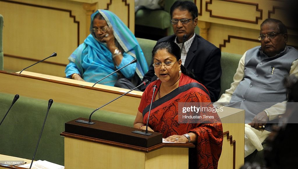 Interim budget being presented by the Rajasthan Chief Minister Vasundhara Raje at the state assembly on February 20 2014 in Jaipur India The 200...