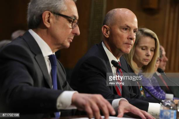 Interim CEO of Equifax Paulino Barros former CEO of Equifax Richard Smith and former CEO of Yahoo Marissa Mayer testify during a hearing before...