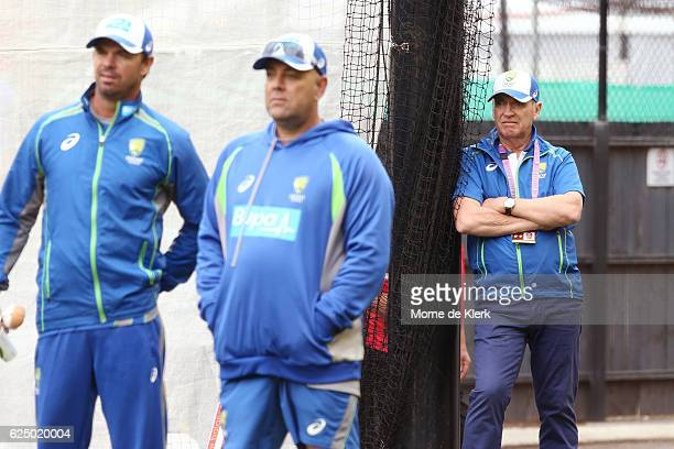 Interim Chairman of Selectors Trevor Hohns watches as Australian Cricket staff Greg Blewett and Head Coach Darren Lehmann watches an Australian nets...