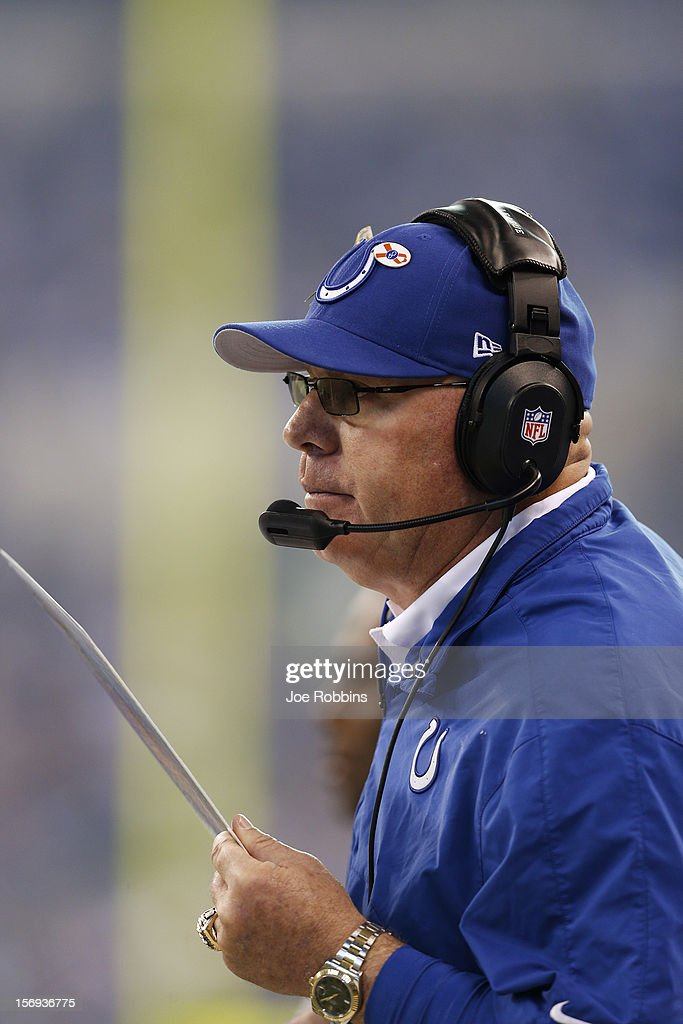 Interim coach Bruce Arians of the Indianapolis Colts looks on against the Buffalo Bills during the game at Lucas Oil Stadium on November 25, 2012 in Indianapolis, Indiana.