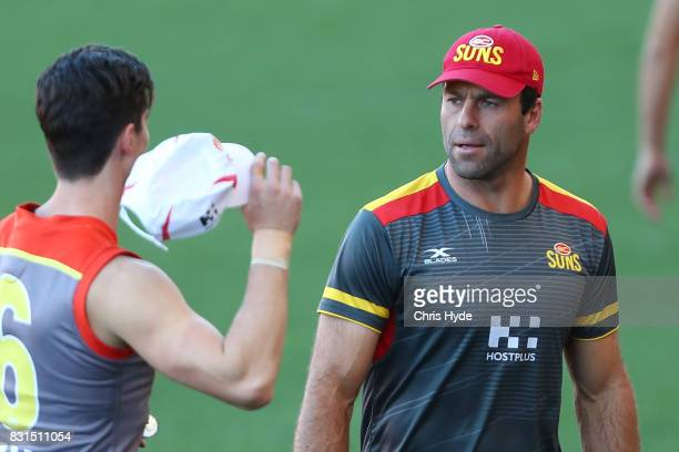 Interim Coach Dean Solomon during a Gold Coast Suns AFL training session at Metricon Stadium on August 15 2017 in Gold Coast Australia