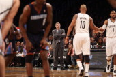 Interim Coach PJ Carlesimo of the Brooklyn Nets works his first game against the Charlotte Bobcats at the Barclays Center on December 28 2012 in the...