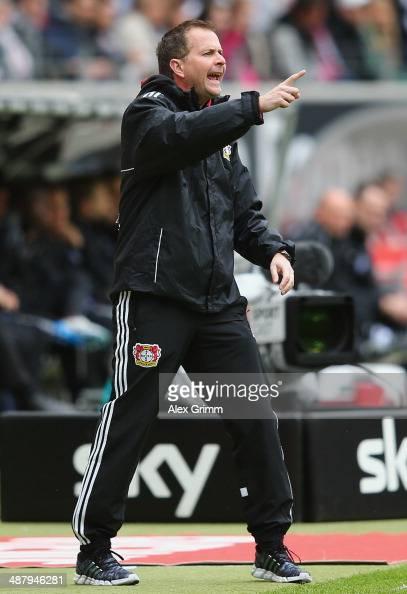 Interim coach Sascha Lewandowski of Leverkusen gestures during the Bundesliga match between Eintracht Frankfurt and Bayer Leverkusen at Commerzbank...