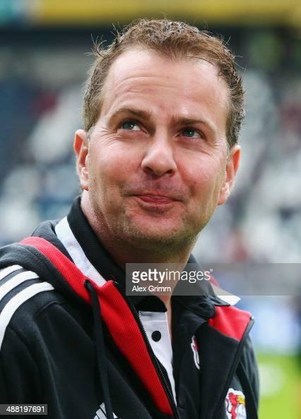 Interim coach Sascha Lewandowski of Leverkusen looks on prior to the Bundesliga match between Eintracht Frankfurt and Bayer Leverkusen at Commerzbank...