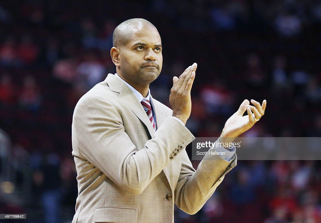 Interim coachJB Bickerstaff of the Houston Rockets watches the action during their game against the Portland Trail Blazers at the Toyota Center on...