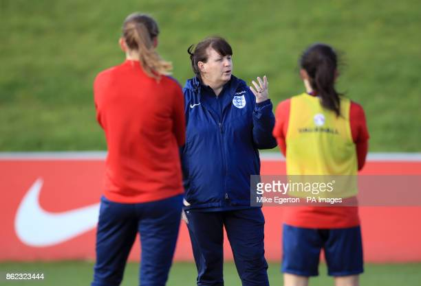 Interim England manager Mo Marley during a training session at St Georges' Park Burton