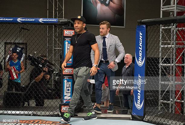 UFC interim featherweight champion Conor McGregor and UFC featherweight Champion Jose Aldo prepare to face off during the filming of The Ultimate...