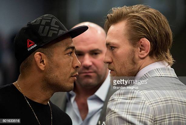 UFC interim featherweight champion Conor McGregor and UFC featherweight Champion Jose Aldo face off during the filming of The Ultimate Fighter Team...