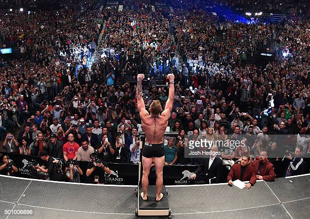 UFC interim featherweight champion Conor McGregor of Ireland weighs in during the UFC 194 weighin inside MGM Grand Garden Arena on December 10 2015...
