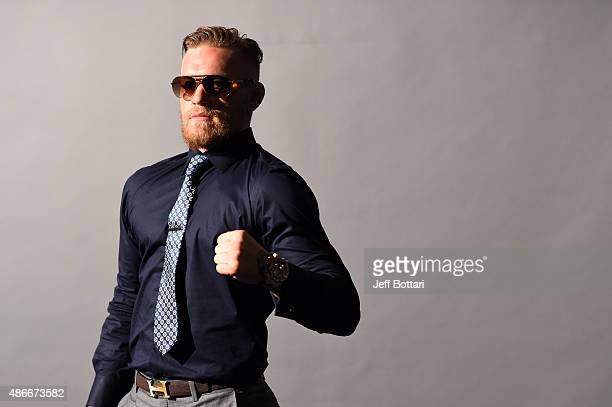 UFC interim featherweight champion Conor McGregor waits backstage during the UFC's Go Big launch event inside MGM Grand Garden Arena on September 4...