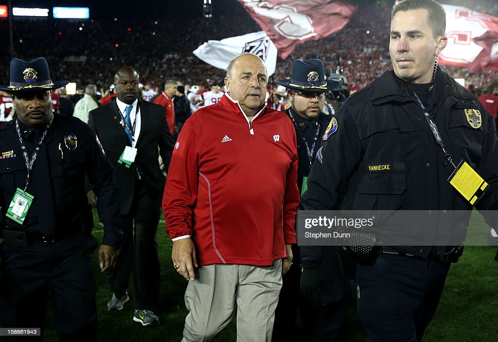 Interim head coach Barry Alvarez of the Wisconsin Badgers walks off the field after the Badgers were defeated 20-14 by the Stanford Cardinal in the 99th Rose Bowl Game Presented by Vizio on January 1, 2013 at the Rose Bowl in Pasadena, California.