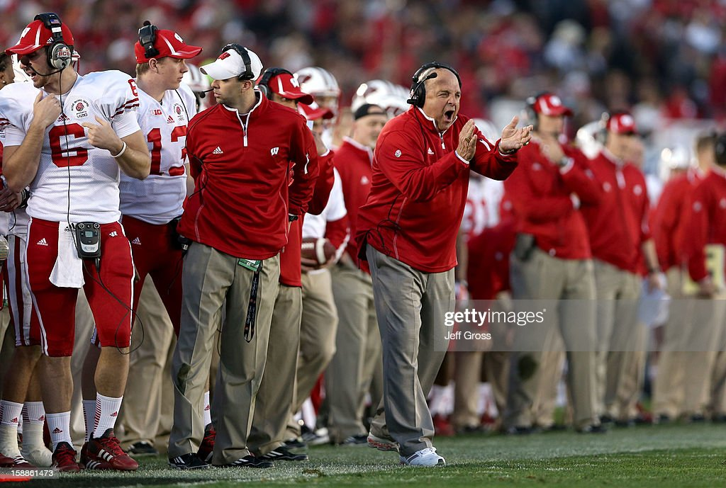 Interim head coach <a gi-track='captionPersonalityLinkClicked' href=/galleries/search?phrase=Barry+Alvarez&family=editorial&specificpeople=239480 ng-click='$event.stopPropagation()'>Barry Alvarez</a> reacts in the second half while taking on the Stanford Cardinal in the 99th Rose Bowl Game Presented by Vizio on January 1, 2013 at the Rose Bowl in Pasadena, California.