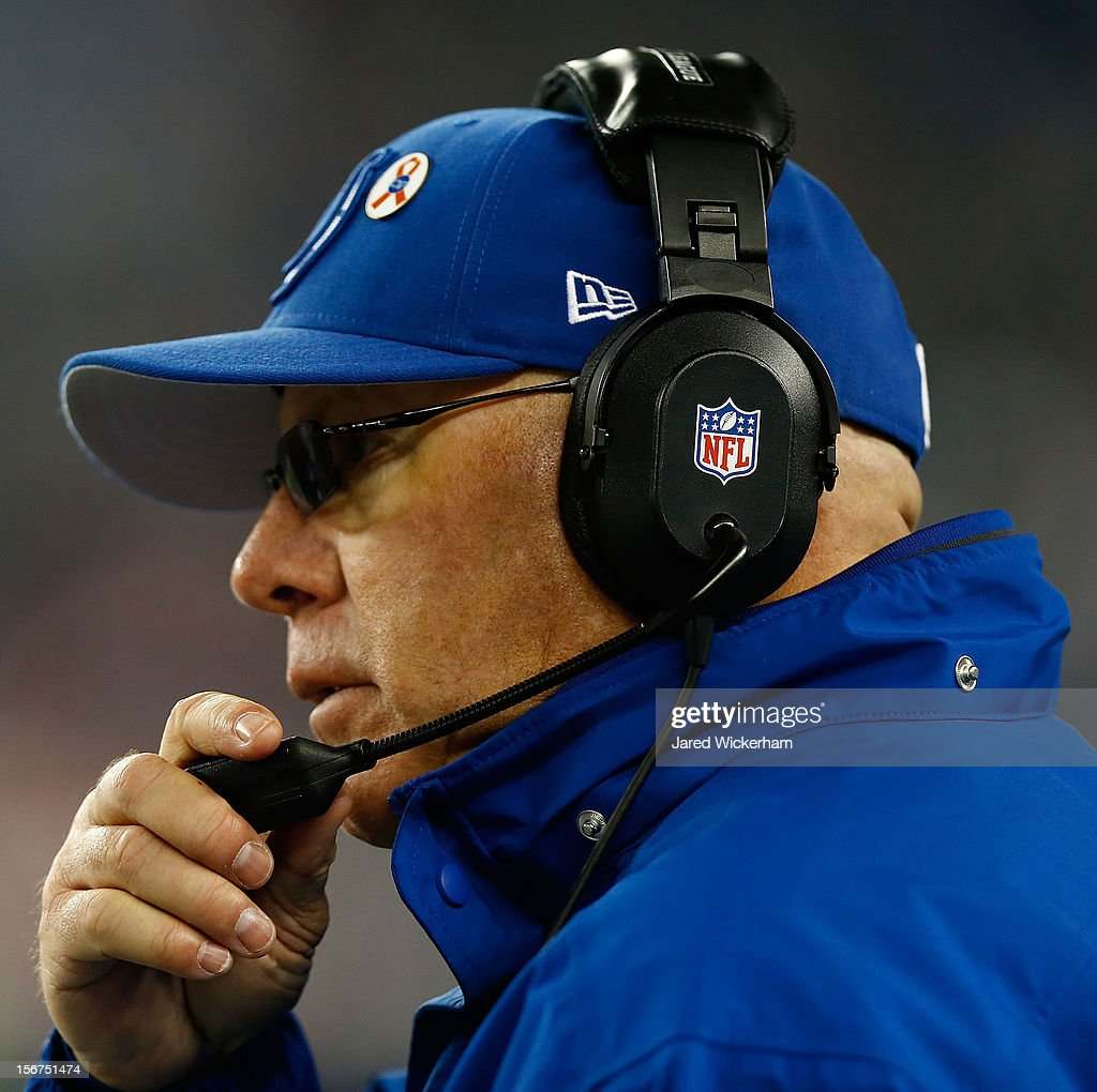 Interim head coach Bruce Arians of the Indianapolis Colts watches his team play against the New England Patriots during the game on November 18, 2012 at Gillette Stadium in Foxboro, Massachusetts.