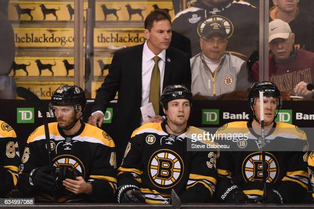 Interim Head Coach Bruce Cassidy of the Boston Bruins watches the play against the Montreal Canadiens at the TD Garden on February 12 2017 in Boston...