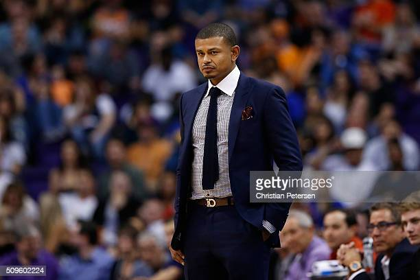 Interim head coach Earl Watson of the Phoenix Suns during the NBA game against the Golden State Warriors at Talking Stick Resort Arena on February 10...