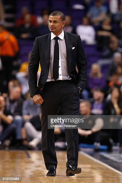Interim head coach Earl Watson of the Phoenix Suns during the NBA game against the Toronto Raptors at Talking Stick Resort Arena on February 2 2016...