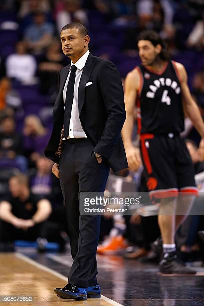Interim head coach Earl Watson of the Phoenix Suns looks down court during the NBA game against the Toronto Raptors at Talking Stick Resort Arena on...