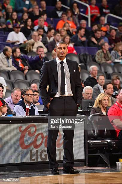 Interim head coach Earl Watson of the Phoenix Suns looks on during the game against the Toronto Raptors on February 2 2016 at Talking Stick Resort...