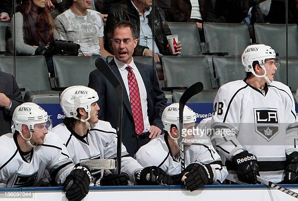 Interim Head Coach John Stevens of the Los Angeles Kings yells to his team during NHL action against the Toronto Maple Leafs at The Air Canada Centre...