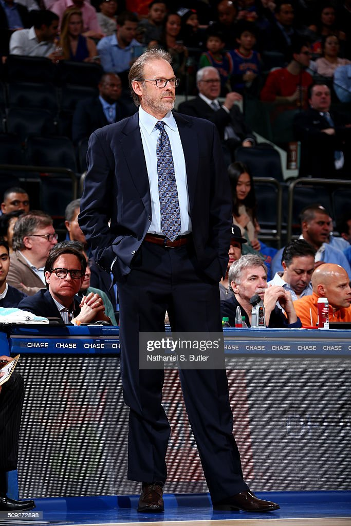 Interim head coach Kurt Rambis of the New York Knicks looks on during the game against the Washington Wizards on February 9 2016 at Madison Square...