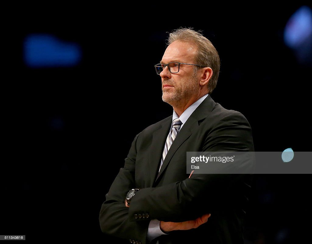 Interim head coach Kurt Rambis of the New York Knicks looks on in the first half against the Brooklyn Nets at Barclays Center on February 19 2016 in...