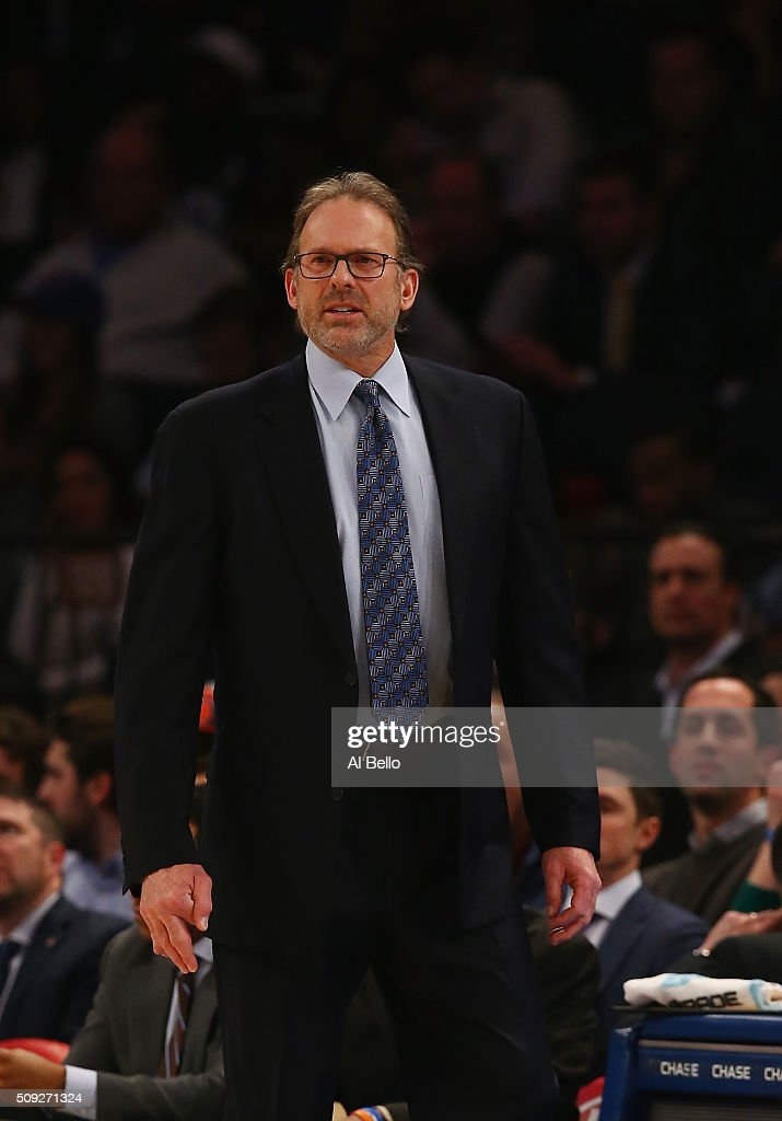 Interim Head Coach Kurt Rambis of the New York Knicks looks on against the Washington Wizards at Madison Square Garden on February 9 2016 in New York...