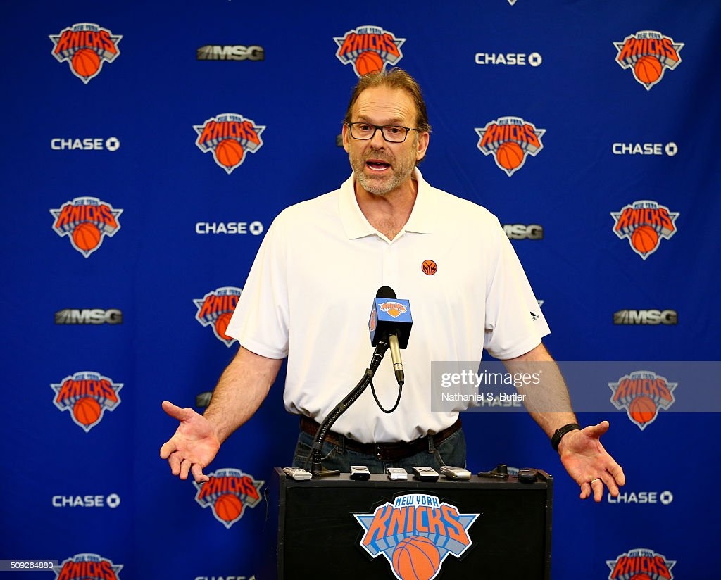 Interim head coach Kurt Rambis of the New York Knicks speaks at a press conference before the game against the Washington Wizards on February 9 2016...