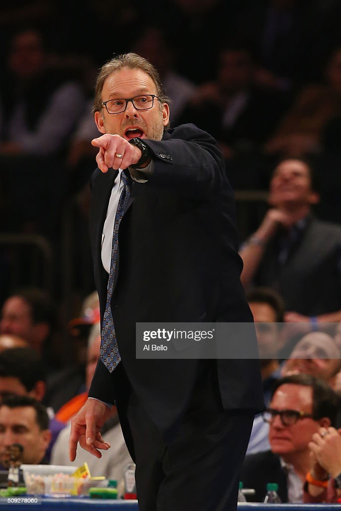 Interim Head Coach Kurt Rambis of the New York Knicksshouts instructions against his team against the Washington Wizards at Madison Square Garden on...