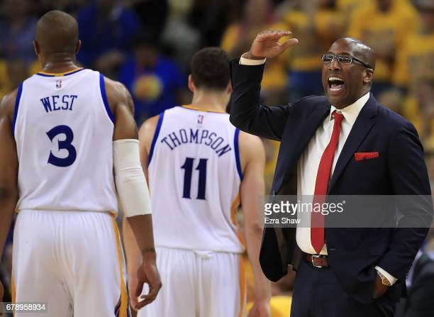 Interim head coach Mike Brown of the Golden State Warriors reacts against the Utah Jazz during Game Two of the NBA Western Conference SemiFinals at...