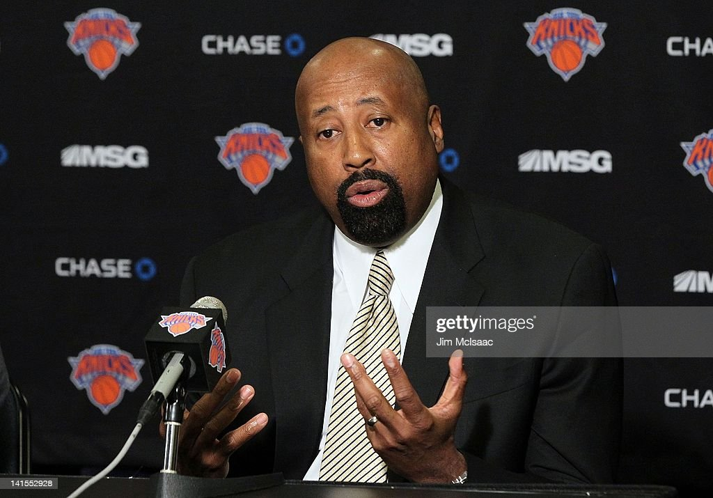 Interim head coach Mike Woodson speaks to the media prior to the New York Knicks game against the Portland Trail Blazers on Wednesday March 14 2012...