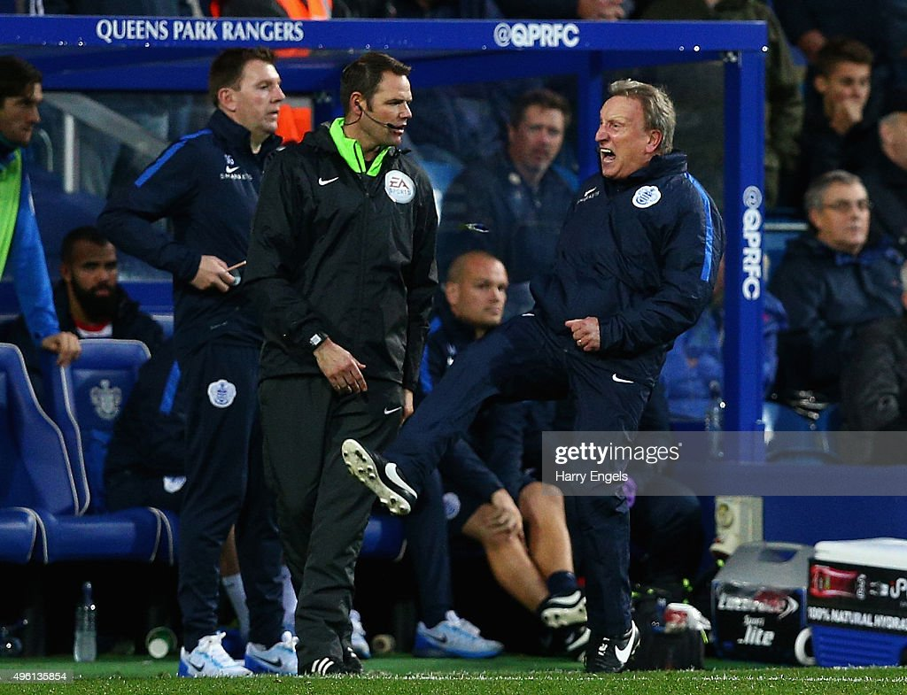 Interim Head Coach <a gi-track='captionPersonalityLinkClicked' href=/galleries/search?phrase=Neil+Warnock&family=editorial&specificpeople=644786 ng-click='$event.stopPropagation()'>Neil Warnock</a> reacts angrily on the sidelines during the Sky Bet Championship match between Queens Park Rangers and Preston North End at Loftus Road on November 7, 2015 in London, United Kingdom.
