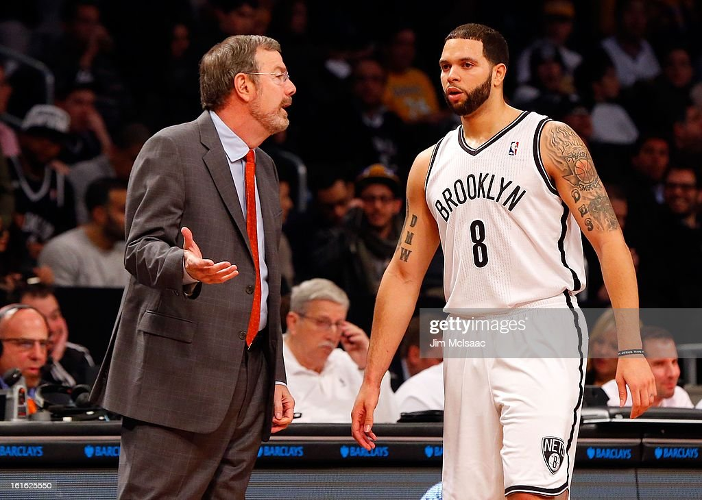 Interim head coach P.J. Carlesimo and Deron Williams #8 of the Brooklyn Nets in action against the Los Angeles Lakers at Barclays Center on February 5, 2013 in the Brooklyn borough of New York City.The Lakers defeated the Nets 92-83.