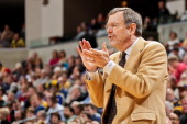 Interim Head Coach PJ Carlesimo of the Brooklyn Nets applauds his team against the Indiana Pacers on February 11 2013 at Bankers Life Fieldhouse in...