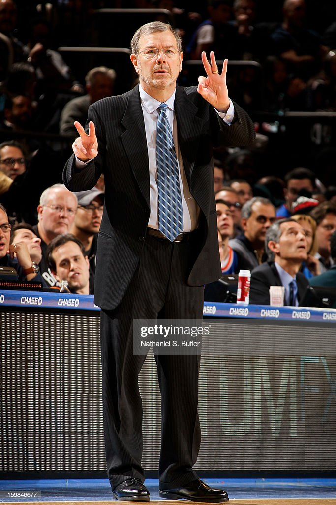 Interim head coach P.J. Carlesimo of the Brooklyn Nets directs his team against the New York Knicks on January 21, 2013 at Madison Square Garden in New York City.