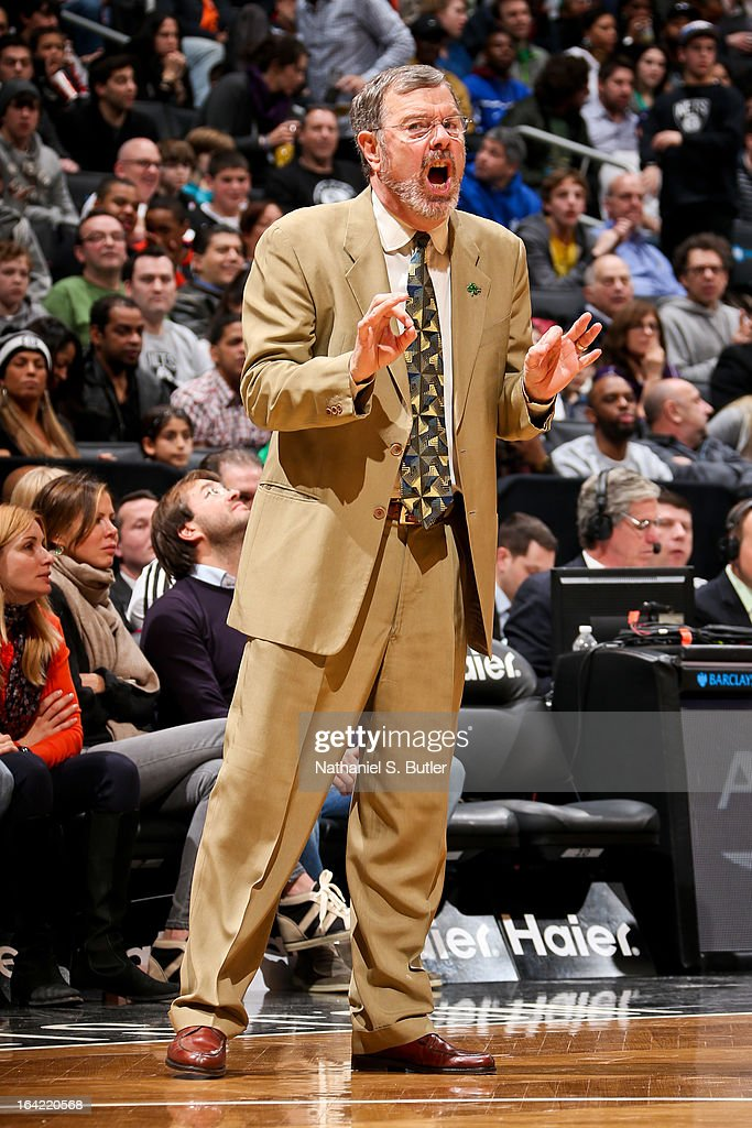 Interim Head Coach P.J. Carlesimo of the Brooklyn Nets directs his team against the Atlanta Hawks on March 17, 2013 at the Barclays Center in the Brooklyn borough of New York City.