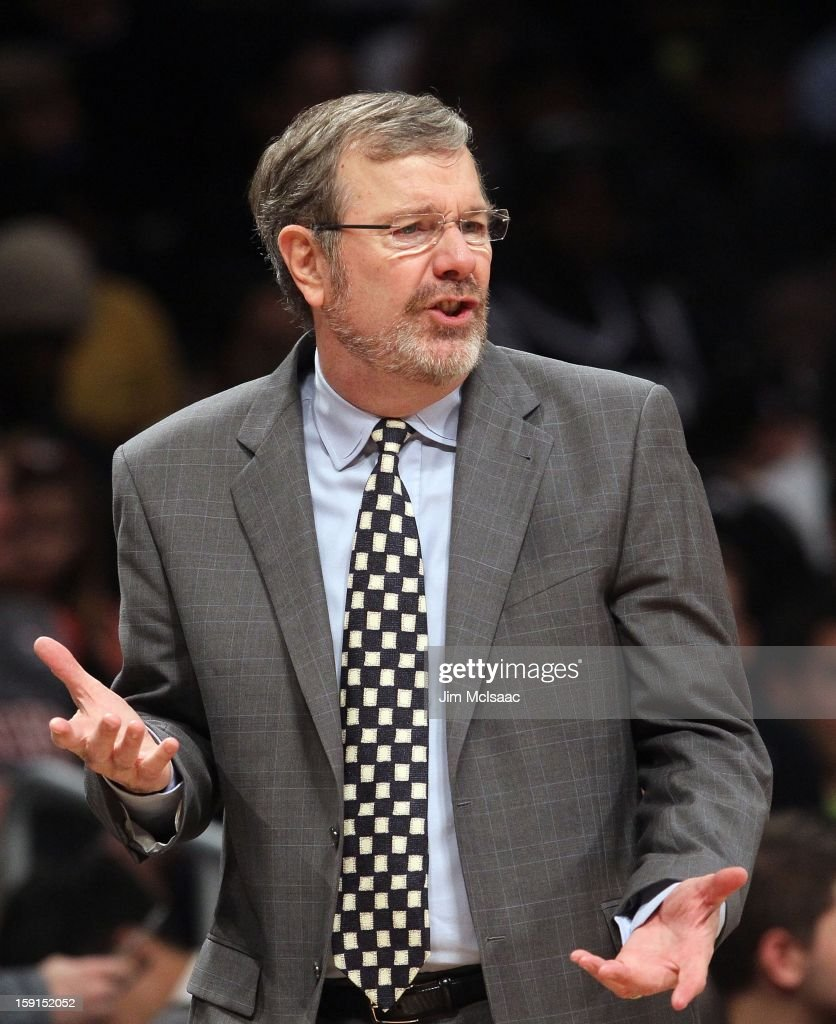 Interim head coach PJ Carlesimo of the Brooklyn Nets in action against the Charlotte Bobcats at Barclays Center on December 28 2012 in the Brooklyn...