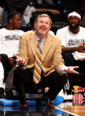 Interim head coach PJ Carlesimo of the Brooklyn Nets in action against the Cleveland Cavaliers at Barclays Center on December 29 2012 in the Brooklyn...