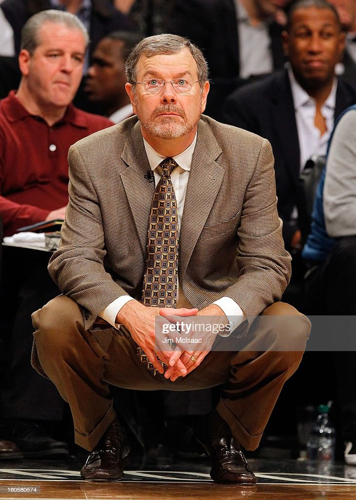 Interim head coach P.J. Carlesimo of the Brooklyn Nets in action against the Miami Heat at Barclays Center on January 30, 2013 in the Brooklyn borough of New York City.The Heat defeated the Nets 105-85.