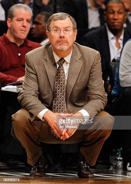 Interim head coach PJ Carlesimo of the Brooklyn Nets in action against the Miami Heat at Barclays Center on January 30 2013 in the Brooklyn borough...