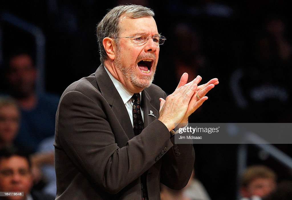 Interim head coach P.J. Carlesimo of the Brooklyn Nets in action against the Dallas Mavericks at Barclays Center on March 1, 2013 in the Brooklyn borough of New York City.The Mavericks defeated the Nets 98-90.