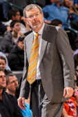 Interim Head Coach PJ Carlesimo of the Brooklyn Nets looks on as his team plays the Oklahoma City Thunder on January 2 2013 at the Chesapeake Energy...